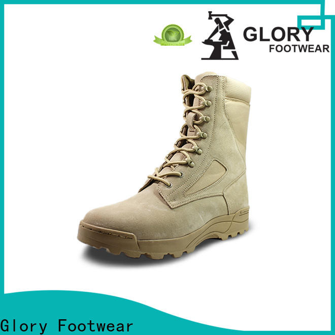 Glory Footwear tan military boots by Chinese manufaturer