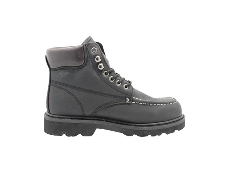 Black Nubuck Leather Breathable Mens Goodyear Welt Anti- Slip Safety Boots