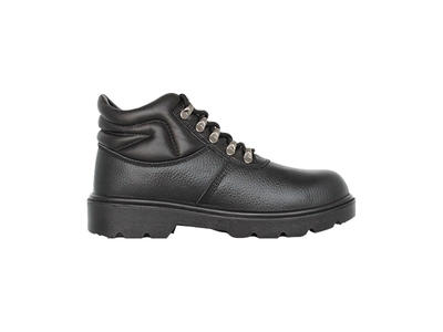 Middle cut black anti-smashing steel toe safety shoes with pu outsole