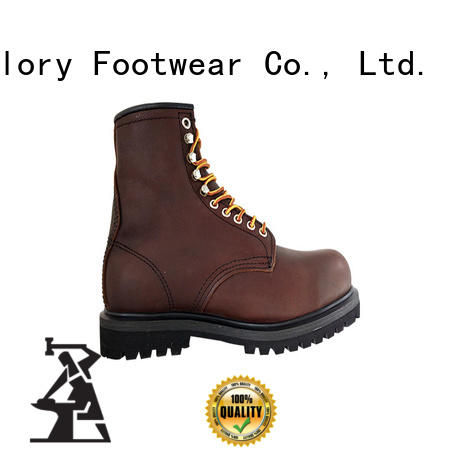 Goodyear welted rubber outsole steel toe safety boots with leather upper