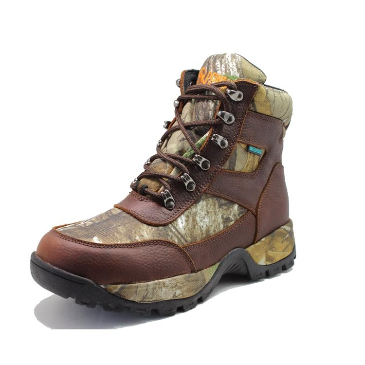 Brown tumble leather waterproof hunting boots