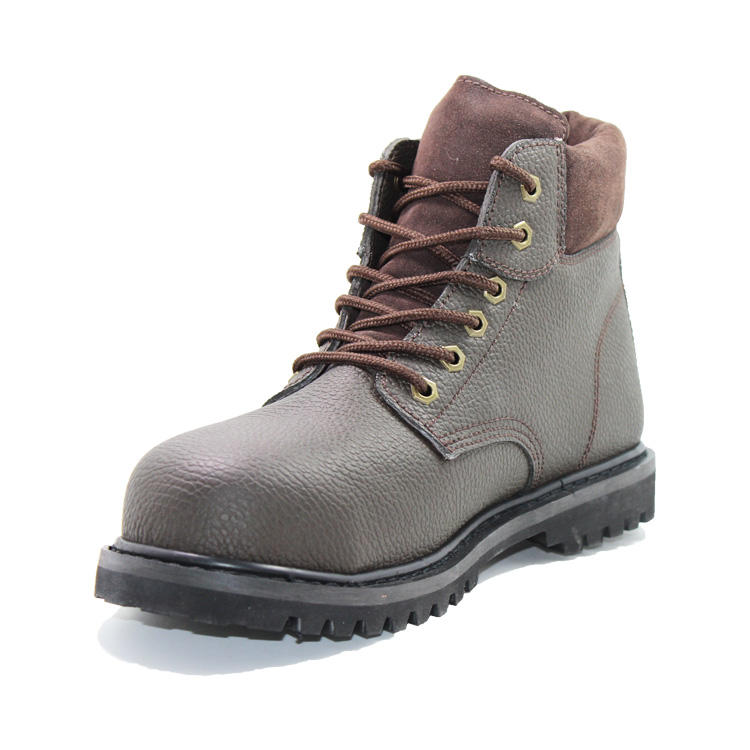 Embossed action leather comfortable steel toe boots