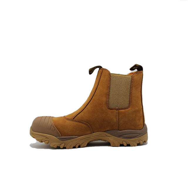 Nubuck leather slip on steel toe boots
