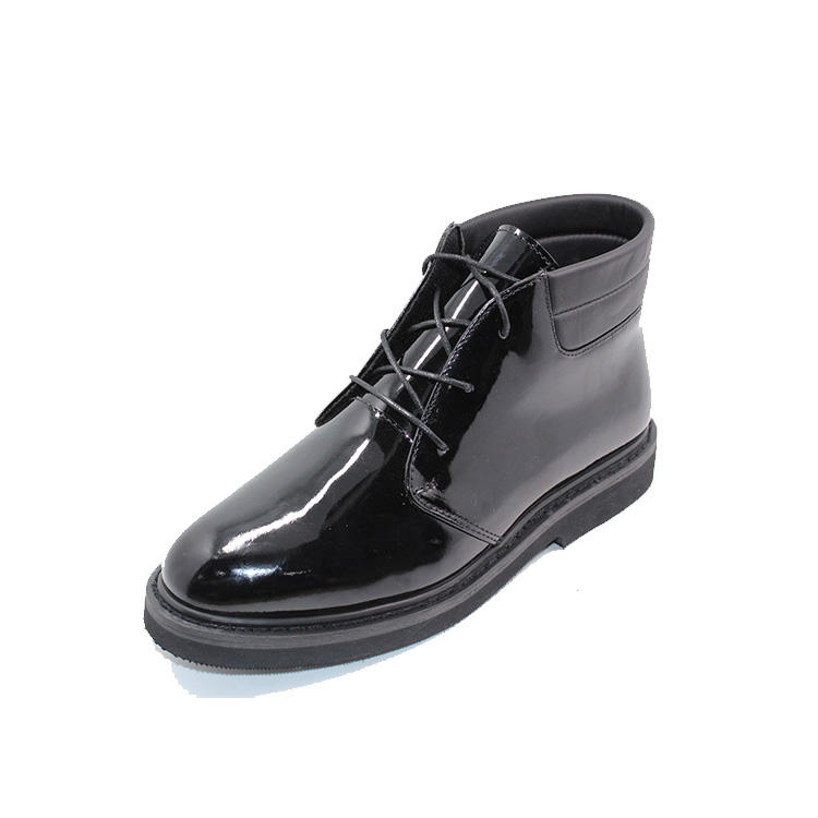 Mid cut patent leather army shoes