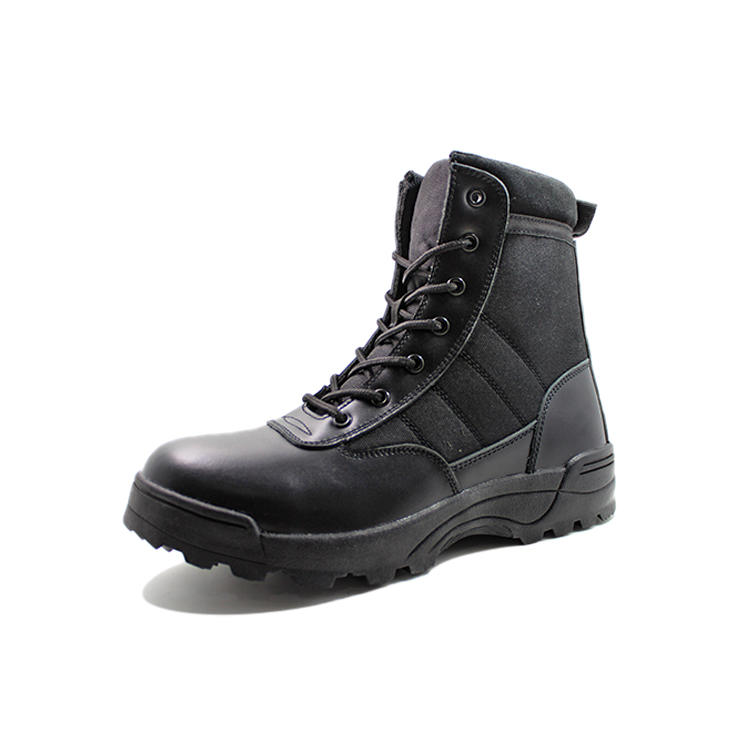 Full grain leather army combat boots with zipper