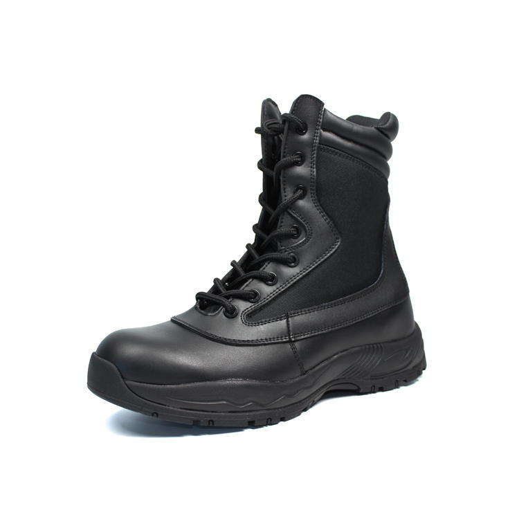 black army boots with YKK zipper