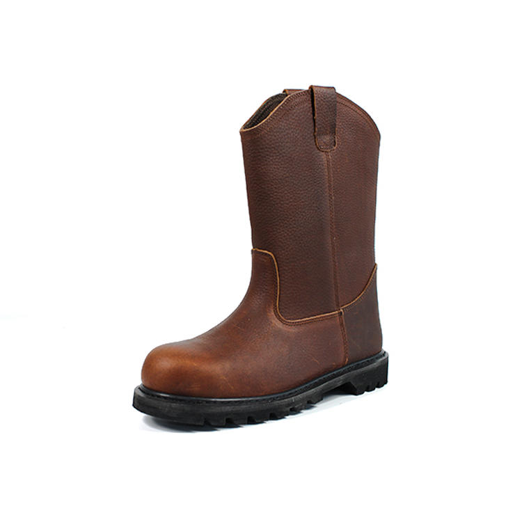 High cut brown leather steel toe work boots