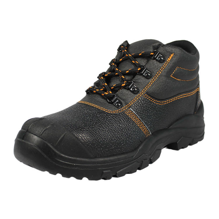 embossed leather big toe cap safety shoes