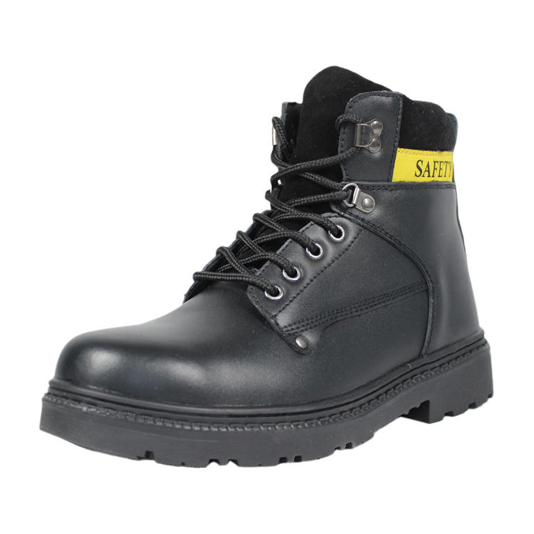 Mid cut black steel toe boots