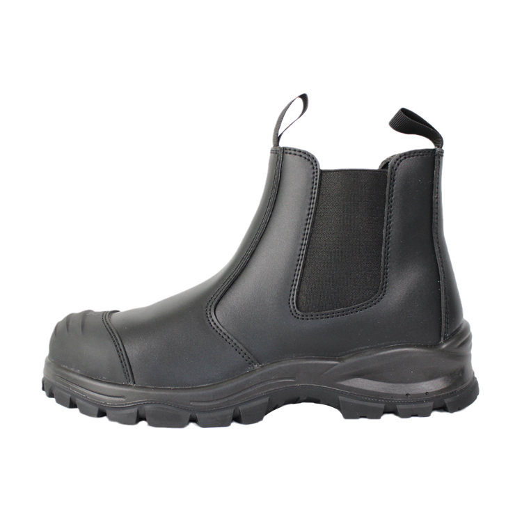 Black smooth action leather slip on steel toe safety shoes