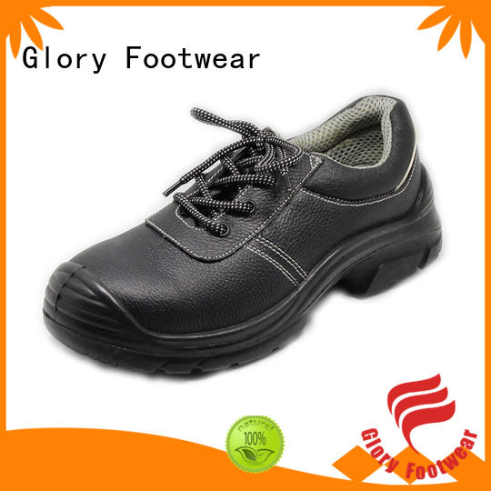 solid leather safety shoes genuine with good price for hiking